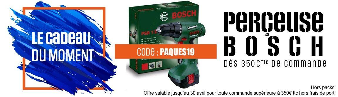 Une perceuse bosh offerte pour toute commande de plus de 350€ttc (Hors port)
